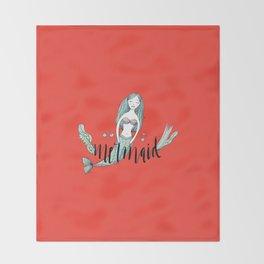 Art red sleeping mermaid Throw Blanket