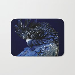 Australian Red-Tailed Black Cockatoo in Blue Bath Mat