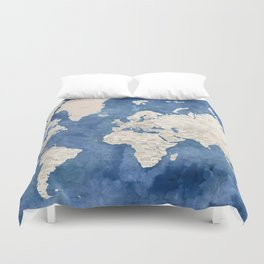 Light brown and blue watercolor detailed world map Duvet Cover