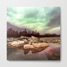 Epic Lake Scenery and Dramatic Sky Metal Print