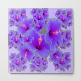 LILAC PURPLE-GREY HIBISCUS  MODERN  ART Metal Print