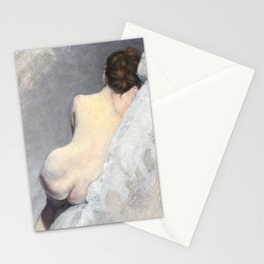 Soft Pastel Nude Female Oil painting of Woman Sleeping Stationery Cards