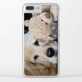 Golden Retriever with Best Friend Clear iPhone Case