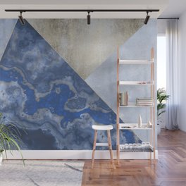 Blue Gold Gemstone Geode Triangles Wall Mural