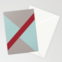 Grey Blue Red Diagonal Stripe Offset Pattern Rustoleum 2021 Color of the Year Satin Paprika & Accent Stationery Cards