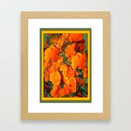 Sage Green Art Golden California Poppies Design Framed Art Print