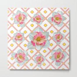 Pink-Yellow Spring Garden Daffodils Metal Print