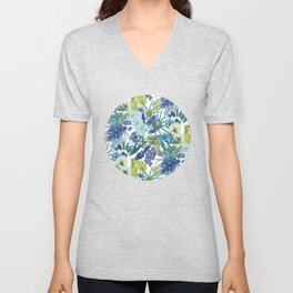 FLOWERPOWER (BLUE) Unisex V-Neck