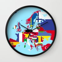 europe Wall Clocks featuring Europe flags by SebinLondon