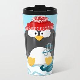 Penguin in January month series Metal Travel Mug