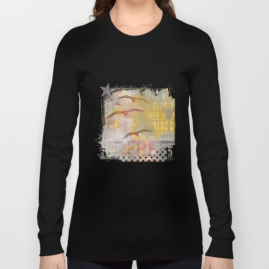 Free bird mixed media artwork Sea Gulls and Typography Long Sleeve T-shirt