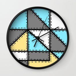 Marker Patchwork – Triangles and Rectangles – Gray Blue Yellow Wall Clock
