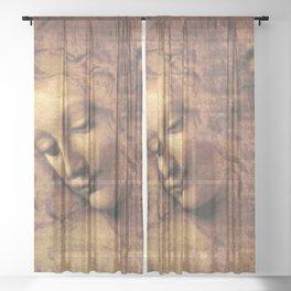Leonardo da Vinci - Head of a Young Woman, La Scapigliata Sheer Curtain