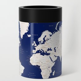 """Navy blue and light brown detailed world map """"Gavin"""" Can Cooler"""