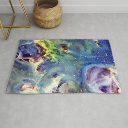 Constellation Crab Abstract Watercolor Painting Rug