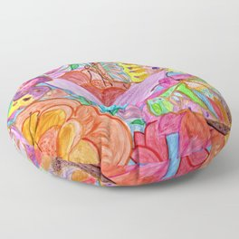 Colourful Butterfly among colourful flowers Floor Pillow