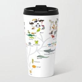 Evolution in biology, scheme evolution of animals on white. children's education back to scool Metal Travel Mug