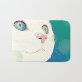 Odd-eyed White Cat Bath Mat