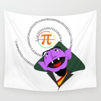 pi Wall Tapestries featuring Count Pi by tuditees