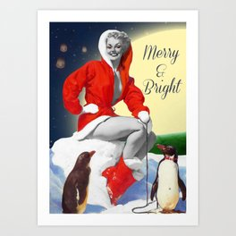 Merry & Bright | Vintage Pin Up Girl Christmas Collage Art Print