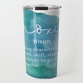 Moxie Definition - Blue Watercolor Travel Mug