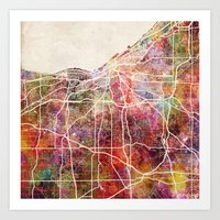 cleveland Art Prints featuring Cleveland by MapMapMaps.Watercolors