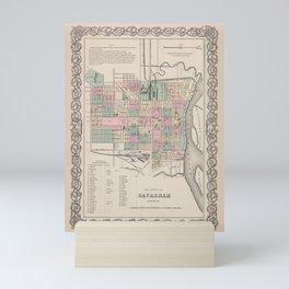 Vintage Savannah Georgia Map (1886) Mini Art Print