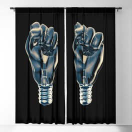 Protest fist light bulb / 3D render of glass light bulb in the form of clenched fist Blackout Curtain
