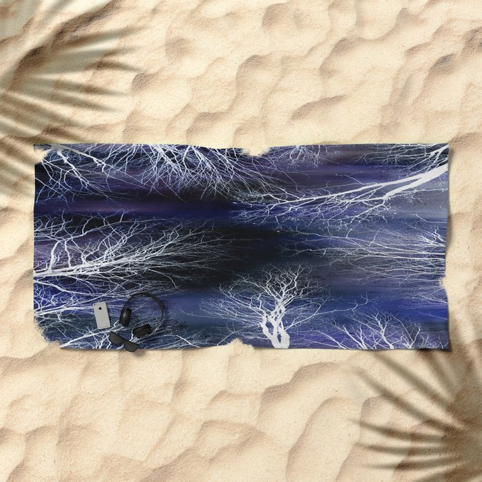Abstract Midnight Trees Beach Towel