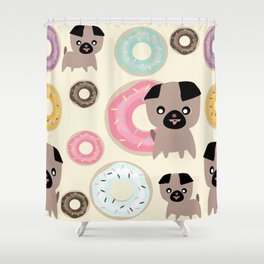 Pug and donuts beige Shower Curtain