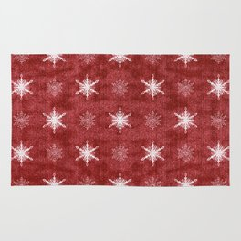 White Snowflakes on Red Christmas Pattern Rug
