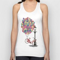 brompton Tank Tops featuring Love to Ride my Bike with Balloons even if it's not practical. by Wyatt Design