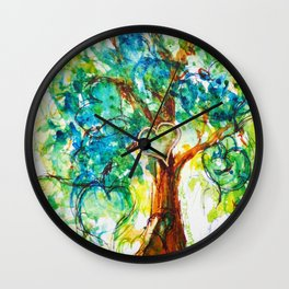 Gold Heart Tree Watercolor by CheyAnne Sexton Wall Clock