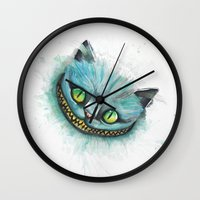 cheshire cat Wall Clocks featuring Cheshire Cat by digiartpicture