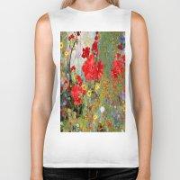 blankets Biker Tanks featuring Red Geraniums in Spring Garden Landscape Painting by SharlesArt