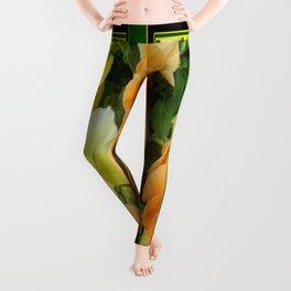 Green Art Design Apricot Colored Pansy Garden Leggings