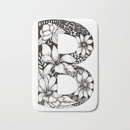 'B' Floral Monogram in Black and White Ink. Bath Mat