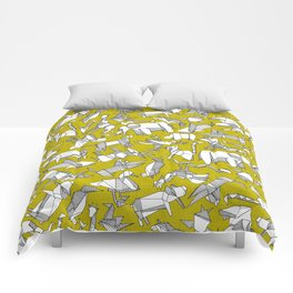 origami animal ditsy chartreuse Comforters