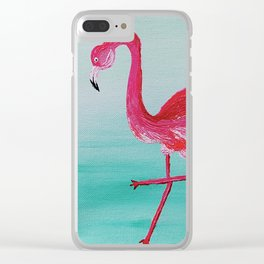 Frank the Flamingo Clear iPhone Case