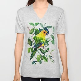 Sun Conure Parakeet, jungle tropical colors, parrot yellow deep green bright colored home decor Unisex V-Neck