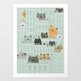 Cats and the city Art Print