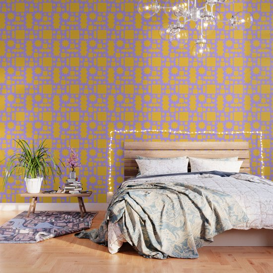 Hana Modern Purple Wallpaper By Thatthat Society6