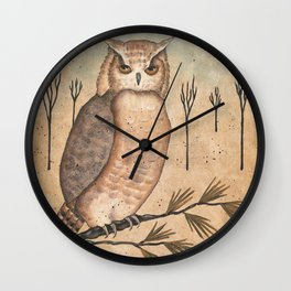 Hoot Owl by Donna Atkins Wall Clock
