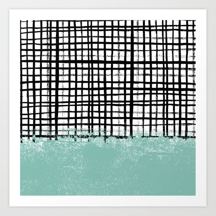 Mila Handpainted Grid Lines Crosshatch Weave With Mint Sage Stripe Minimalist Nursery Art Print