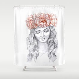 Girl in a pink wreath Shower Curtain