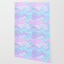 Sea Marble Candy Pattern - Violet, Aqua and Blue Wallpaper