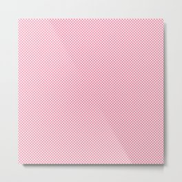 Houndstooth White & Pink small Metal Print