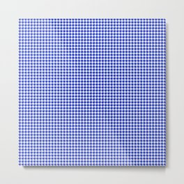 Cobalt Blue and White Houndstooth Check Pattern Metal Print