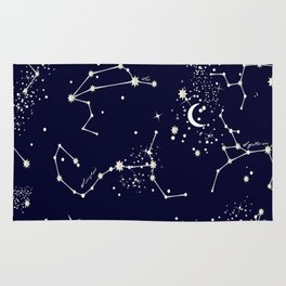 Zodiac Constellations in Night Navy Rug