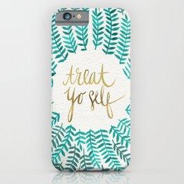 Treat Yo Self – Gold & Turquoise iPhone Case
